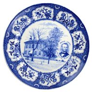 Blue Transferware Lincoln Home in Springfield Illinois Plate