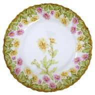 Hand Painted Limoges Chrysanthemum  Plate by Elite Limoges of France