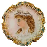 Hand Painted Portrait Plate by TV Limoges