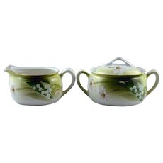 RS Germany Creamer and Sugar Lily of the Valley Decoration