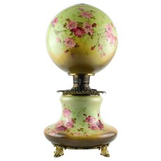 Gone With The Wind Style Oil Lamp with Consolidated Burner and Miller Fill Cap