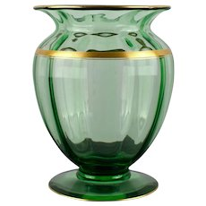 Large Mellon Ribbed Green Glass Vase