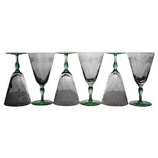 Set of Six Signed Hawkes Water Goblets with Green Stems