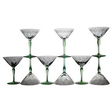 Set of Nine Signed Hawkes Brilliant Cut Wine Glasses with Green Stems
