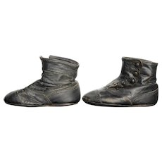 Black Leather High Button Baby Shoes