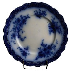 """Touraine"" Flow Blue Plate by Henry Alcock and Co., England"