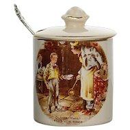 Mustard Jar with Sterling Spoon Marked English Ware, Lancaster LTD Hanley England