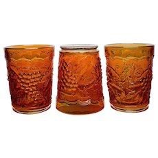 Marigold Grape and Cable Tumblers by the Imperial Glass Company