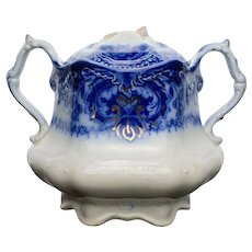 "Flow Blue Sugar Bowl ""Lakewood"" Pattern by Wood and Son"