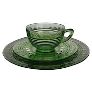 Green Depression Dessert Set, Anchor Hocking Circle Optic Service for Eight