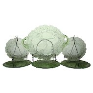 Indiana Glass Green Pear Dessert Set