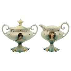 RS Prussia Creamer and Sugar with Recamier and Potschka Portraits