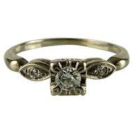 14K White Gold Engagement Ring and Platinum Wedding Band