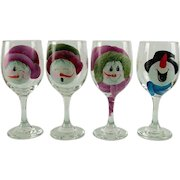 Set of 4 Hand Decorated Snowman Glasses