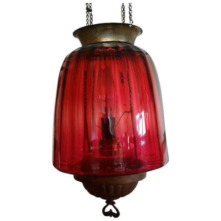 Antique Cranberry Glass Hanging Lamp - Red Tag Sale Item SOLD | Ruby ...