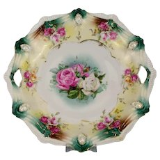 RS Prussia Ribbon and Jewel Cake Plate with Rose Decoration