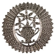 Sterling and Marcasite Brooch