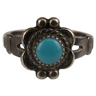 Sterling and Turquoise Cactus Flower Ring made by Bell Trading Post in the Southwest