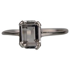 Silver Ring with Large Clear Stone