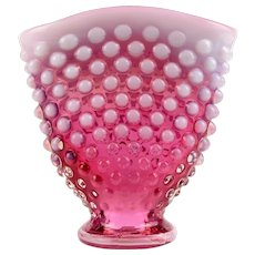 Fenton Cranberry Opalescent Fan Vase