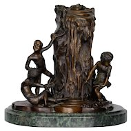 Bronze Statue of Children Playing Signed Aug Moreau