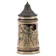 German Stoneware Stein with Pewter Lid