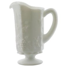 Westmoreland Milk Glass Panel Grape and Leaf Pitcher
