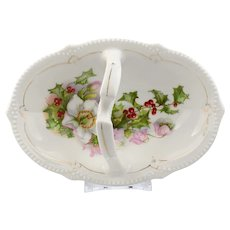Handled Basket with Floral and Holly Decoration by PS Germany