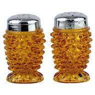 Fenton Amber Hobnail Salt and Pepper Shakers