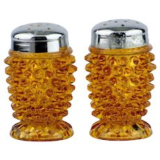 Fenton Amber Hobnail Salt and Pepper Shakers