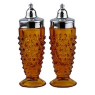 Amber Hobnail Salt and Pepper Shakers made by L E Smith