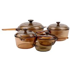 Corning Visions Pots and Lids in Amber Color