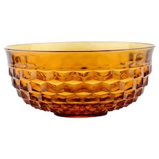 Vintage Indiana Glass Whitehall Colony Amber Punch Bowl