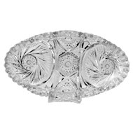 Imperial Nu Cut Crystal Relish Dish