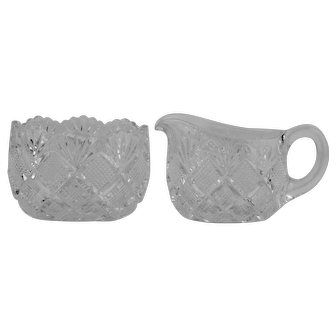 Duncan Miller EAPG Diamond Block Creamer and Sugar