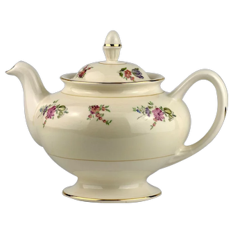 Priscilla Pattern Teapot Marked Faust Institute