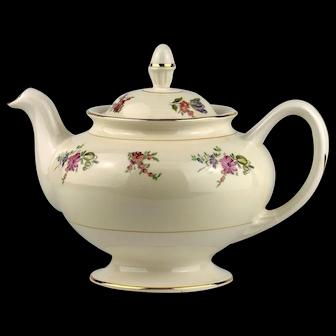 Priscilla Pattern Teapot Marked Faust Institute