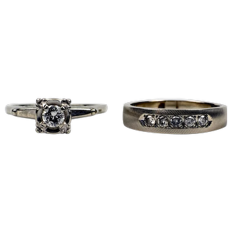 Art Deco Style 14 K White Gold Diamond Engagement Ring and Wedding Band by Wm. C. Greene and Co.