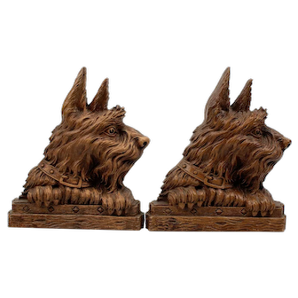 Syroco Wood Scotty Dog Bookends