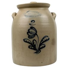 BUrger Brothers Rochester New York Two Gallon Stoneware Crock with Lid