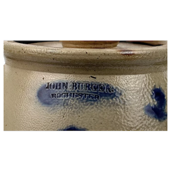 John Burger Rochester 2 Gallon Crock Churn with Lid and Dasher