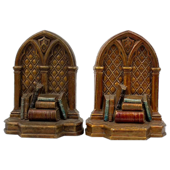 Syroco Wood Library Books Bookends