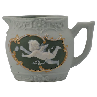 Schafer and Vater Green Cameo Creamer