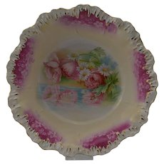 RS Prussia Reflecting Poppies in a Raindrop Mold Bowl