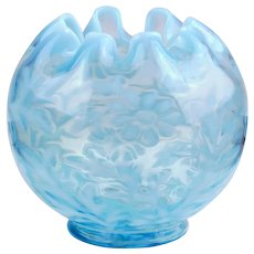 Northwood Daisy and Fern Blue Opalescent Rose Bowl