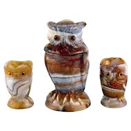 Imperial End O Day Glass Owl Creamer, Sugar and Jar