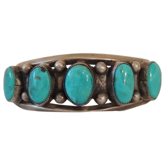 Early Native American Sterling & Turquoise Bracelet
