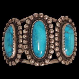 Native American Turquoise & Sterling Bracelet Signed