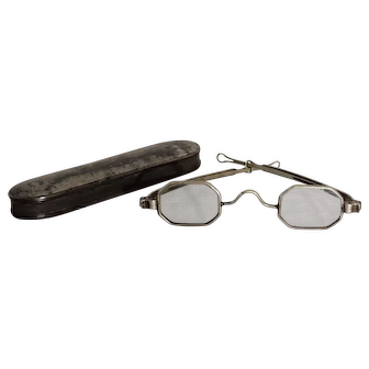 19th c Octagonal Framed Spectacles w/ Sliding Temple & Tin Case