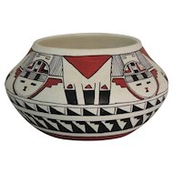 Southwest Native American Polychrome Pottery Pot Signed